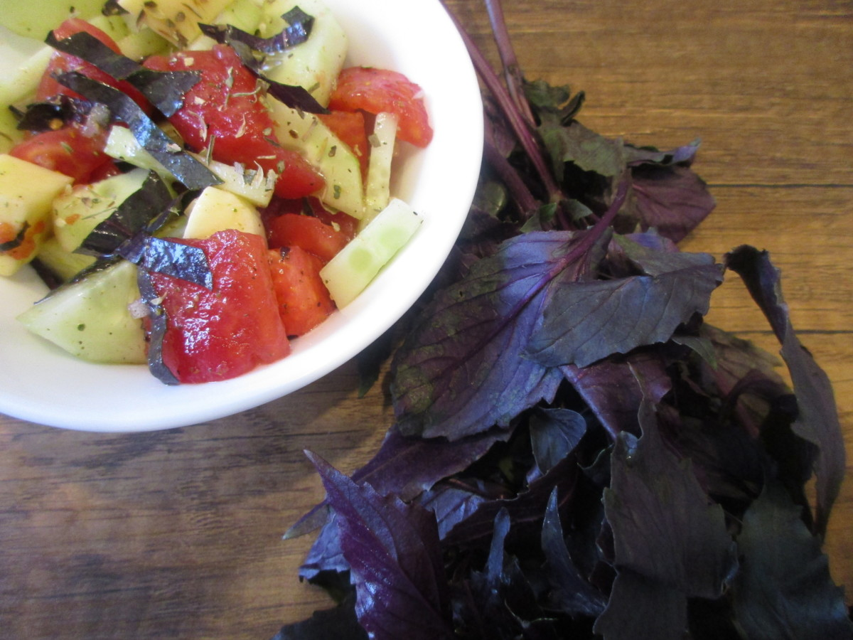 cucumber tomato salad with purple basil