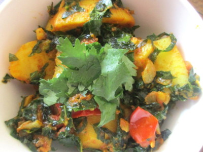 curried greens with potato