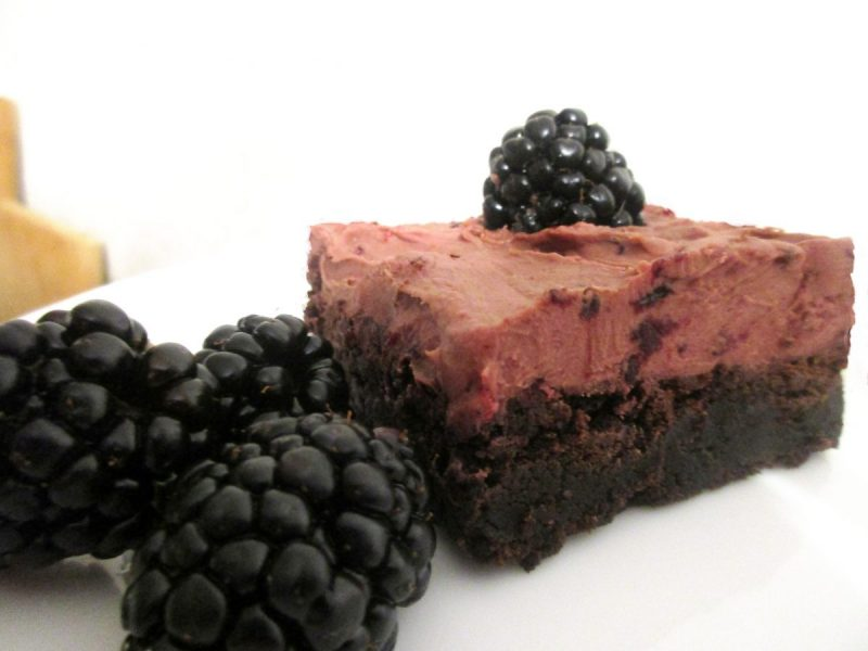 fudgy brownies with chocolate blackberry buttercream