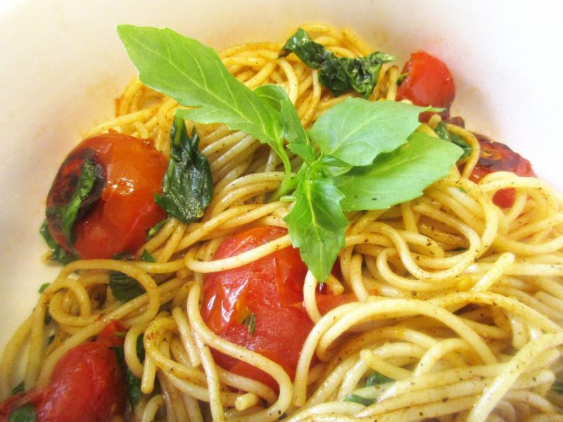 Angel Hair With Blistered Tomatoes and Basil